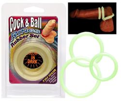 Cock & Ball Rings - Rubber set GLOW